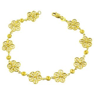 14k Yellow Gold Diamond cut Filigree Flower Bracelet