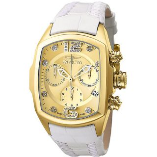 Invicta Womens Lupah Revolution Diamond White Leather Strap Watch