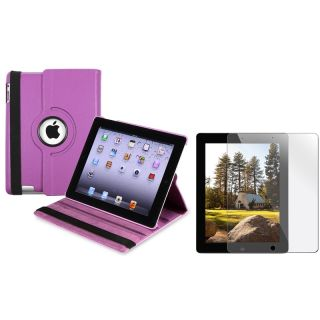 Purple Swivel Case/ Screen Protector for Apple iPad 3