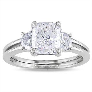 Miadora 14k White Gold 2 1/10ct TDW Cushion cut Diamond 3 stone Ring