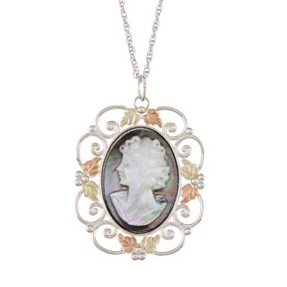 Black Hills Gold over Silver Mother of Pearl Cameo Necklace Today $74