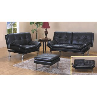 Brown Bonded Leather Sofa Bed and Loveseat Set
