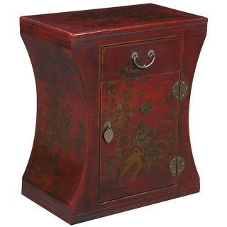 Red Bonded Leather Hand painted Oriental Accent End Table