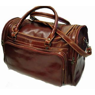 Floto Brown Leather Torino Duffel Bag