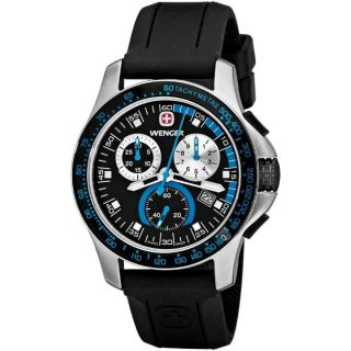 Wenger Mens Battalion Blue Bezel Chronograph Watch