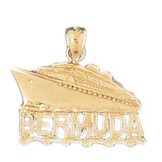14K Yellow Gold Bermuda Cruise Ship Pendant Jewelry