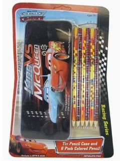 Cars Tin Pencil Case and 6 Pack Colored Pencil   Disneys