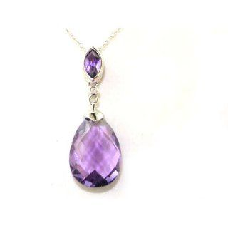 Solid White 9K Gold Chequered Pear cut Amethyst & Diamond