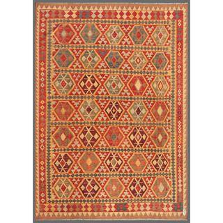 Afghan Hand knotted Mimana Kilim Red/ Ivory Wool Rug (8 x 114