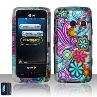 Blue Purple Flower Design Rubber Touch Phone Protector