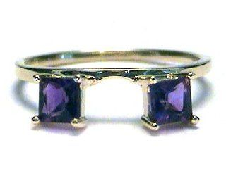 Princess Amethyst Ring Wrap Guard Enhancer yellow gold