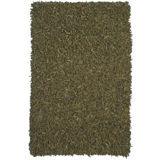 Hand tied Green Leather Rug (8 x 10)