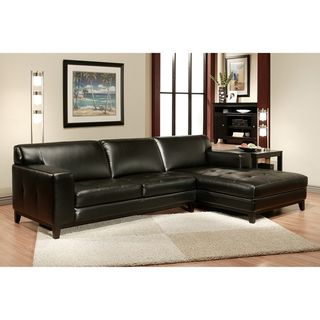 Hampton Black Leather Sectional Sofa