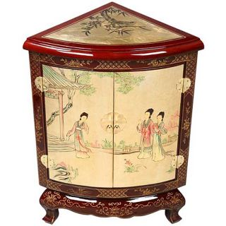Burgundy/ Gold Lacquer Asian Corner Cabinet