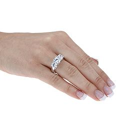 Ultimate CZ 10k White Gold Cubic Zirconia 3 stone Anniversary Ring