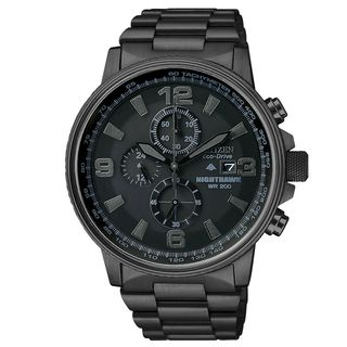 Citizen Mens Eco drive Nighthawk Blacked out Dial Chronograph Watch