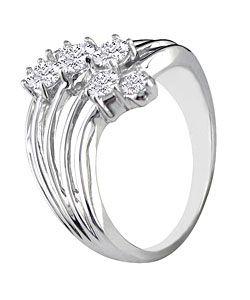 14k White Gold 1/2ct TDW Diamond Bubble Ring