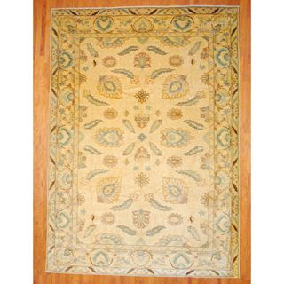 Egyptian Hand knotted Vegetable Dye Oushak Beige/ Light Blue Wool Rug