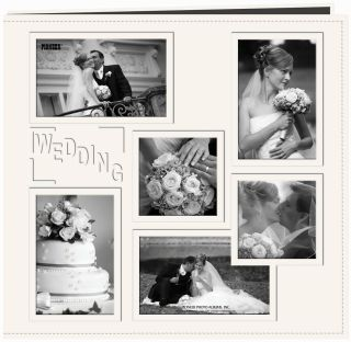 Collage Frame Sewn Embossed Cover Posbound Album 12X12 Whie