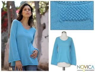 Alpaca Wool Blend Sky Blue Charisma Sweater (Peru)