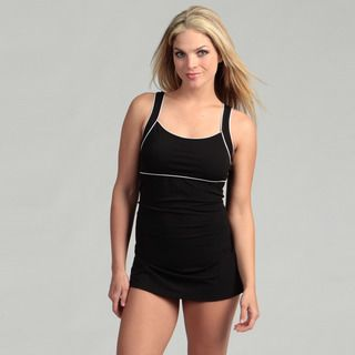 Speedo Womens Piped Sheath Skirted Swimsuit