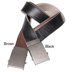 Boston Traveler Mens Reversible Leather/ Canvas Belt