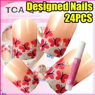 com 24 Cute pink Butterfly Nail Art Tips + Glue 234