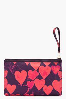 Lanvin Red Heart Zip Clutch for women