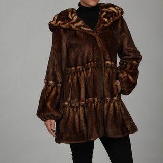 Jones New York Womens Wild Mink Faux fur Coat