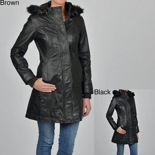 Knoles & Carter Womens Plus Size Leather Faux Fur trimmed Hooded