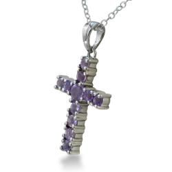 Sterling Silver Amethyst Cross Necklace