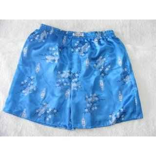 Mens 100% Thai Silk Boxer Shorts  Perfect Teal with Oriental Dragon