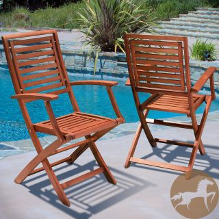 Christopher Knight Home Americana Hard Wood Outdoor Chairs (Set of 2