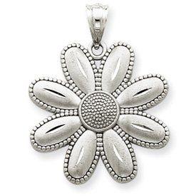 14k Gold White Gold Satin Finish Daisy Pendant Jewelry