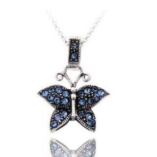 Sterling Silver Blue Cubic Zirconia Butterfly Necklace