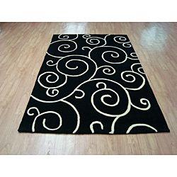 Hand tufted Metro Flower Black Wool Rug (8 x 10)
