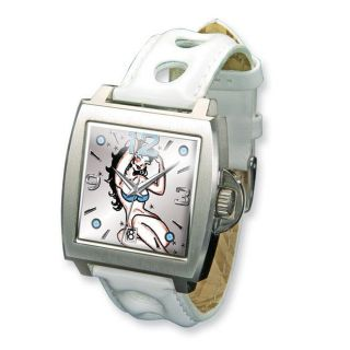 Ed Hardy Mens Triumph White Leather Band Watch