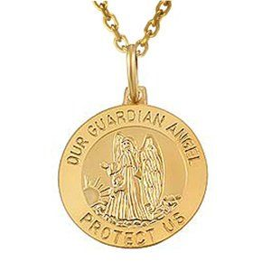 14k Yellow Gold, Guardian Angel Pendant W/Chain Jewelry