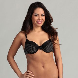 247 Frenzy Womens Black Pin Dot T shirt Bra
