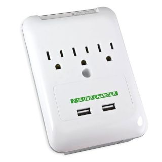 Connectland Wall Outlet with 3 power Outlets/ 2 USB ports CL ADA60006