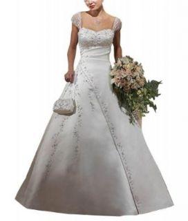 GEORGE BRIDE Capped Sleeves Satin A line Wedding Dress