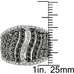 Miadora Sterling Silver 2ct TDW Black Diamond Ring (H I, I1 I2