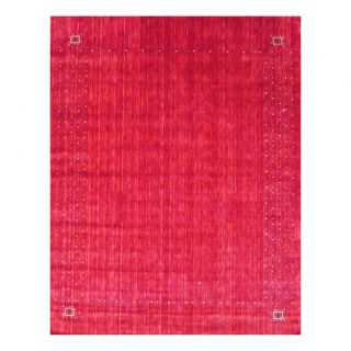 Indo Hand loomed Red/ Ivory Gabbeh Wool Rug (10 x 14)