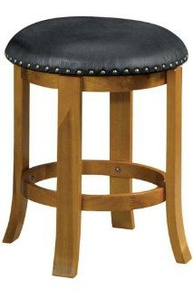 24 Backless Counter Stool Black Leather Honey Oak Home