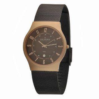 Skagen Mens 233XLRDD Steel Rose Gold Case, Brown Mesh Band Watch