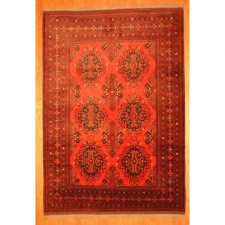 Afghan Hand knotted Tribal Khal Mohammadi Red/ Black Wool Rug (67 x 9