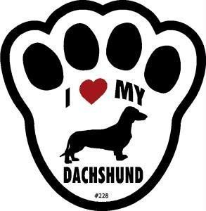 I Love My Dachshund Dog Pawprint Window Decal Pet