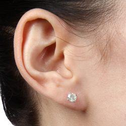 14k White Gold 3/4ct TDW Diamond Stud Earrings (J K, I2 I3