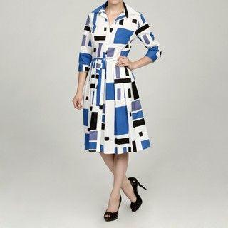 Jessica Howard Womens 3/4 sleeve Button Front Shirt Dress