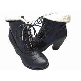 Andres Machado Womens Black Lamb Wool Boots AM346